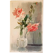c1903 Pink Roses Print Rhoda Holmes Nicholls Chromolithograph Half Yard Long Antique