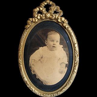 Antique French Gilt Ormolu Frame Bow Ribbon Crown