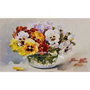 c1895 C Klein XL Pansies Print Chromolithograph Catherine Klein Antique Victorian Half Yard Long