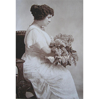 Victorian Lady Lilacs Antique Cabinet Card Photograph Necklace Spokane WA