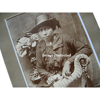 Negro Lady Woman Photograph Rose Black Americana Exceptional African American