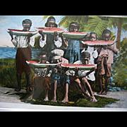Black Americana Framed Print Postcard Watermelon Negro