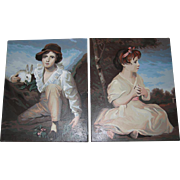 Pair Painting s Boy Girl Rabbit Oil Paintings 1940-50s 16 x 20 Large
