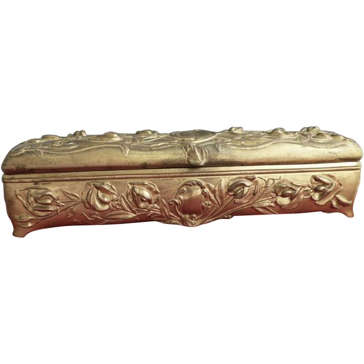 Antique glove box ormolu spelter Art Nouveau