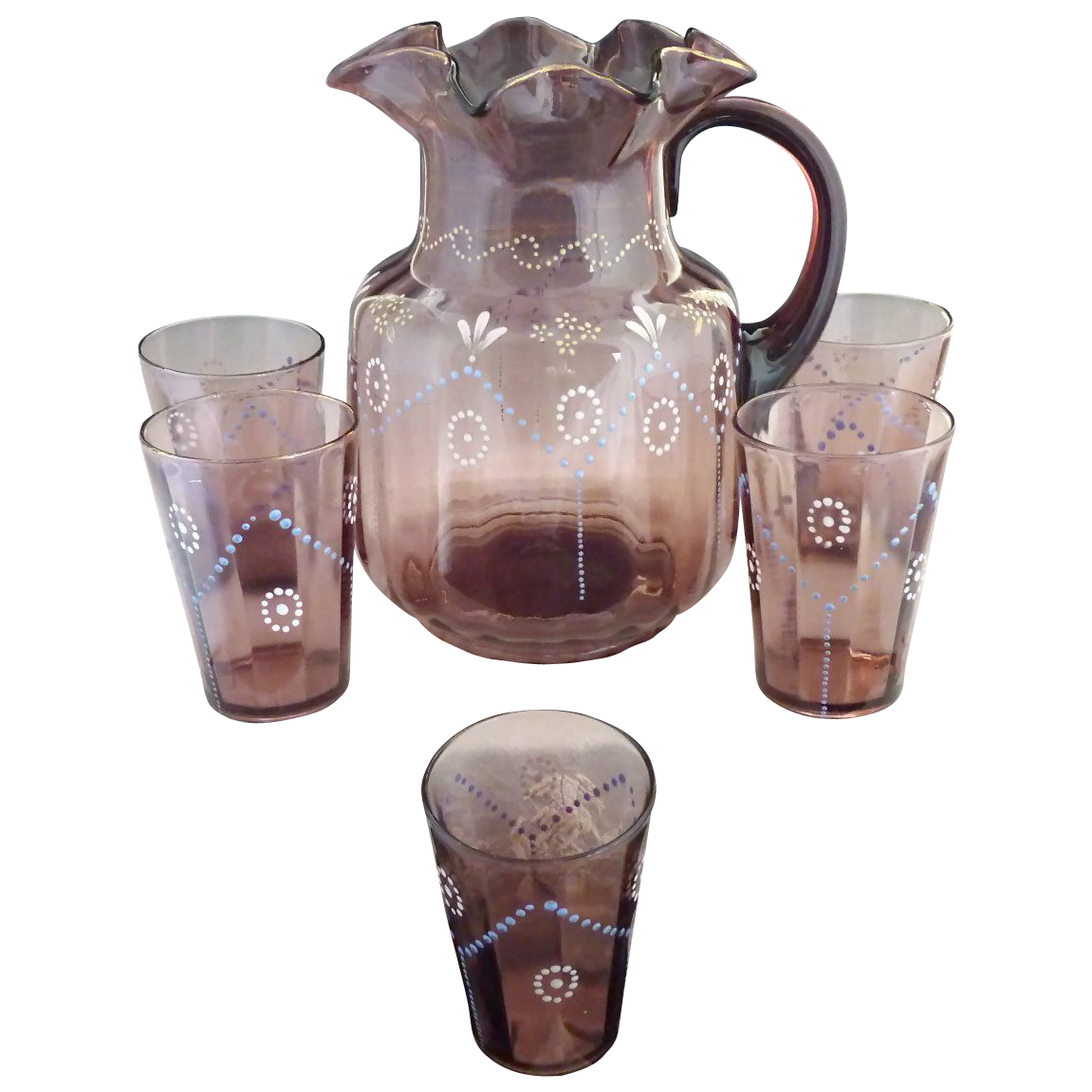 Antique amethyst glass pitcher glass set paneled hand enameling