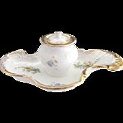 Antique porcelain inkwell gold details floral Victoria Austria
