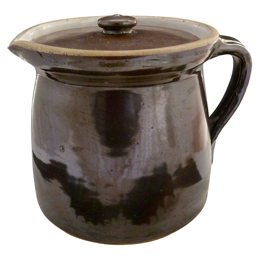 Vintage salt glazed stoneware pitcher pancakes maple syrup brown glaze primitive kitchen