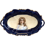 Antique cobalt ice cream tray Constance portrait Rosenthal porcelain c. 1898