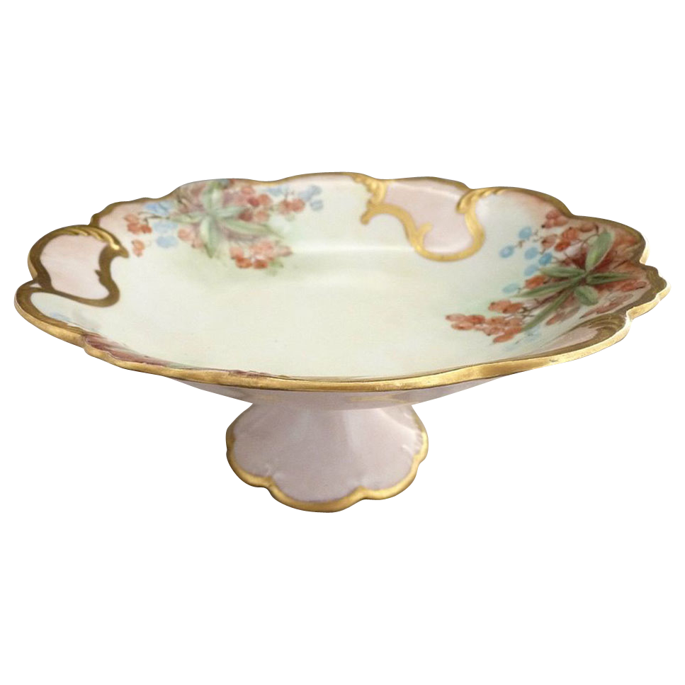 Vintage porcelain compote cake stand hand painted signed Addie Youngblood