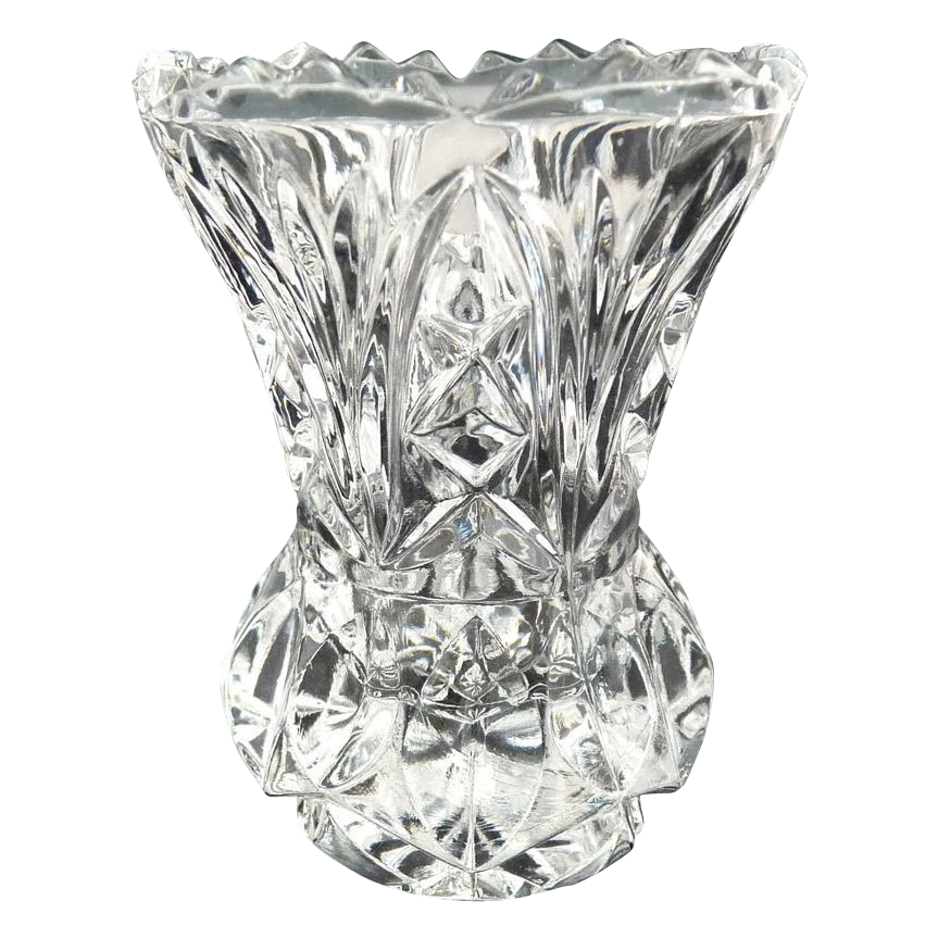 Vintage glass toothpick pressed diamond marquis pattern