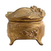 Antique ring box ormolu spelter Art Nouveau