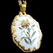 Vintage necklace porcelain pendant florals gold Rosenthal c. 1960s