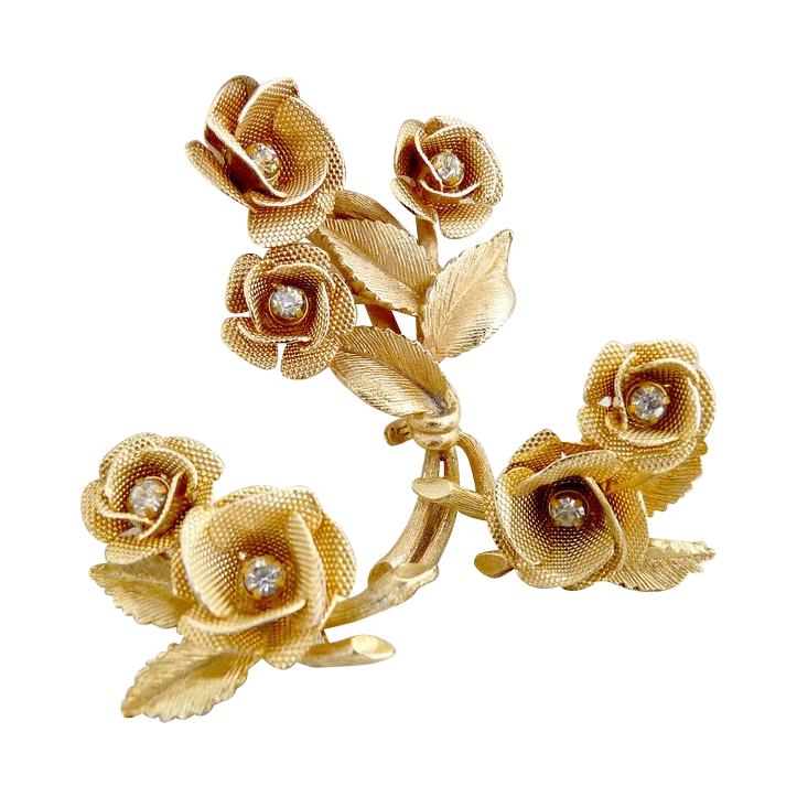 Vintage rose brooch earrings rose bouquets AB rhinestones