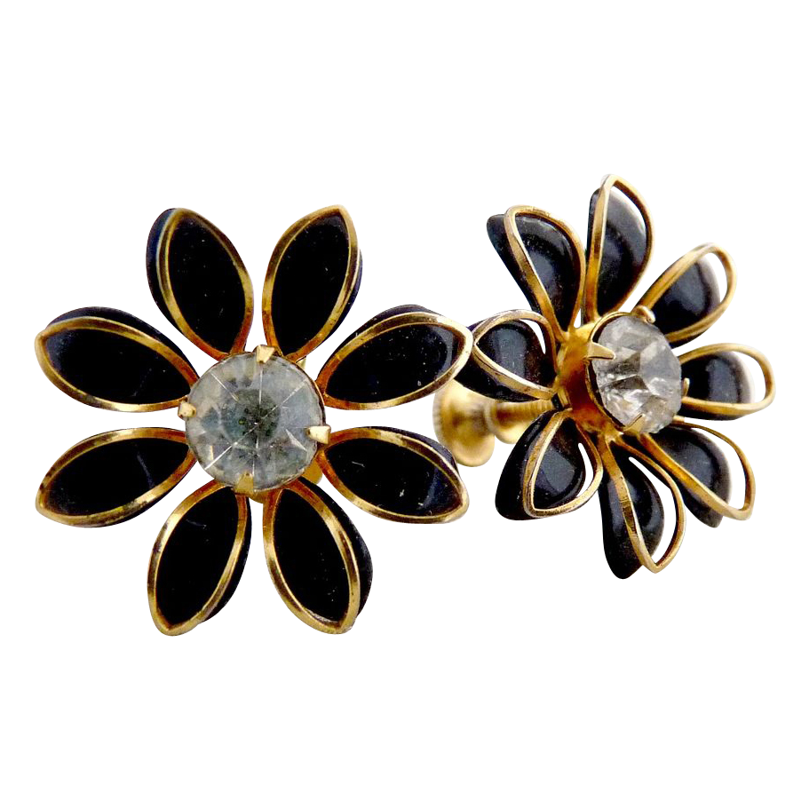 Vintage earrings black daises Bugbee Niles c. 1940s