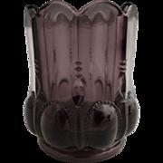 Vintage amethyst glass toothpick holder Michigan pattern Deganhart