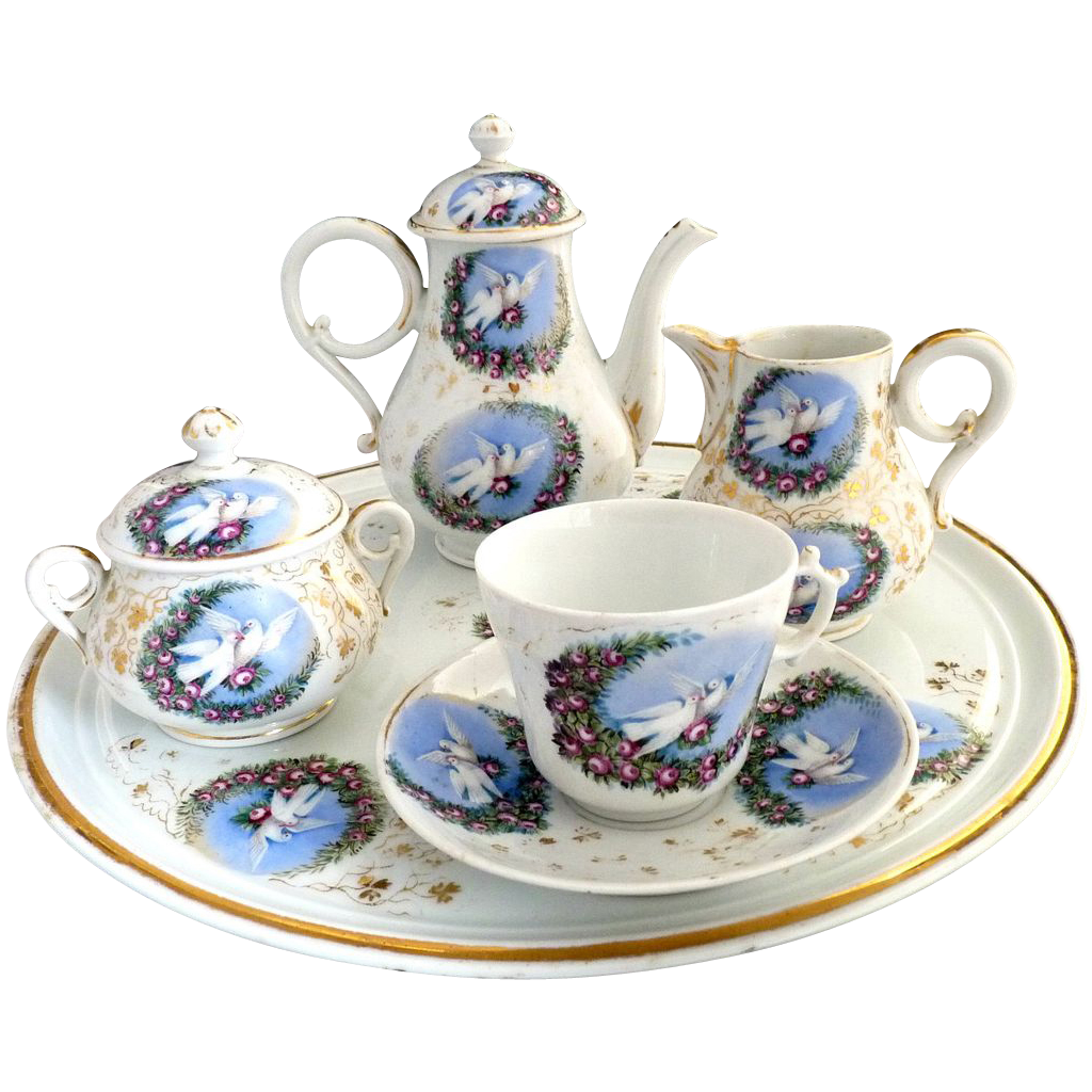 Victorian Porcelain Tea Set Love Birds Roses Carlsbad