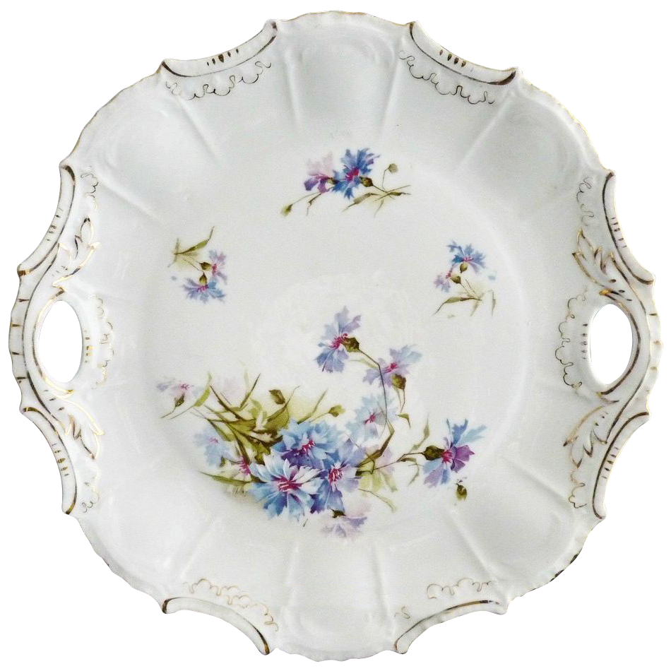 Antique porcelain cake plate bachelor button decor Victorian