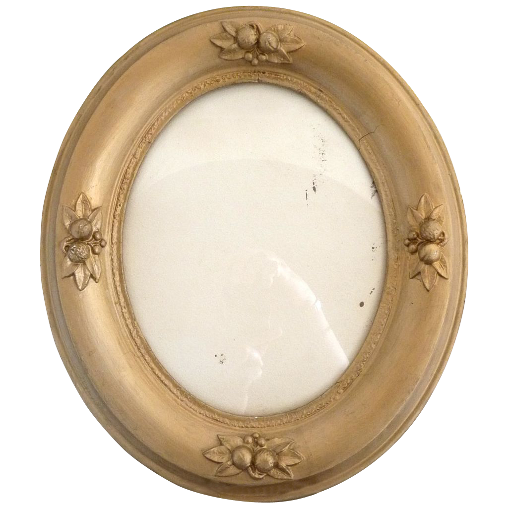 vintage gesso oval picture frame raised fruit decoration 8x10 picture