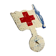 Vintage Red Cross pinch pin white flag never worn