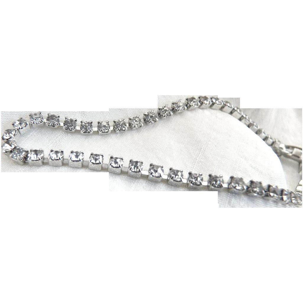 Vintage bracelet tennis prong set rhinestones prom wedding