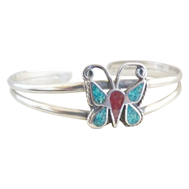 Vintage sterling silver bracelet butterfly turquoise coral inlay