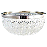 Vintage German crystal bowl silver rim