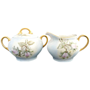 Antique porcelain sugar creamer hand painted roses Bavaria