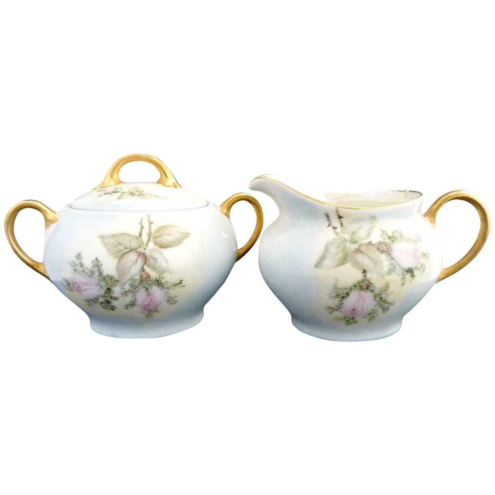 Antique porcelain sugar creamer hand painted roses Bavaria
