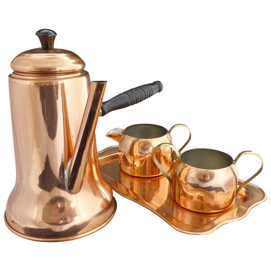 Vintage copper coffee set French handle Coppercraft Guild c.1975