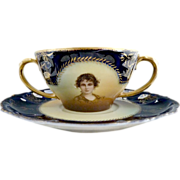 Antique cobalt porcelain portrait cream soup Rosenthal c. 1902