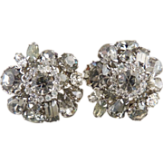 Vintage Weiss earrings smoky black diamond rhinestones round pear emerald cut