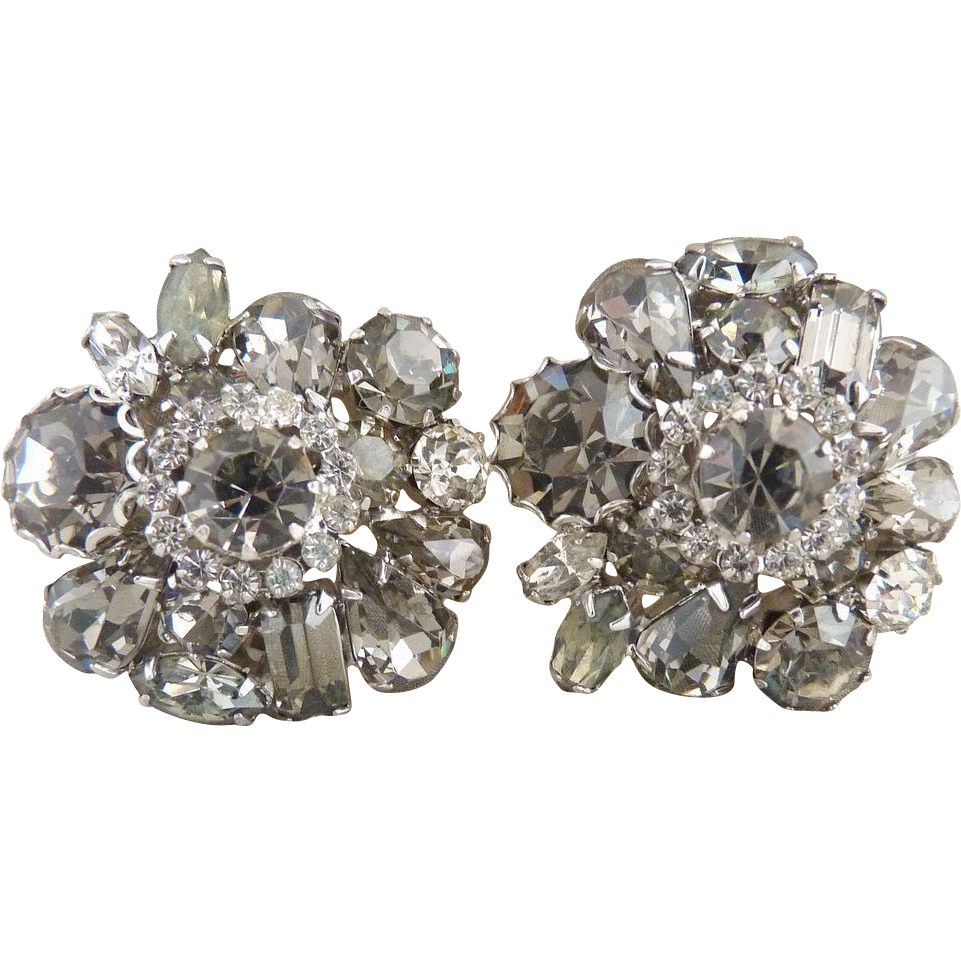 Vintage Weiss Earrings Smoky Black Diamond Rhinestones Round Pear