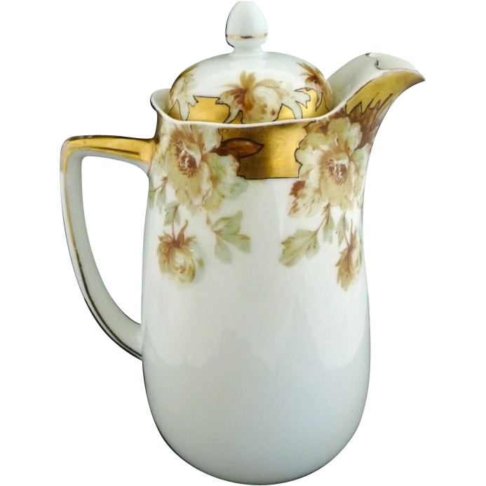 Hermann Ohme Old Ivory chocolate pot hand gilded