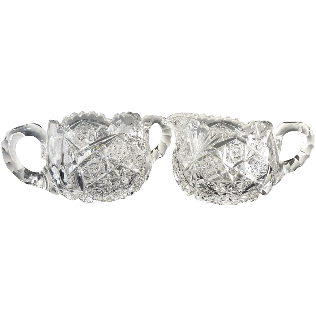 Antique American Brilliant cut glass creamer & sugar geometric