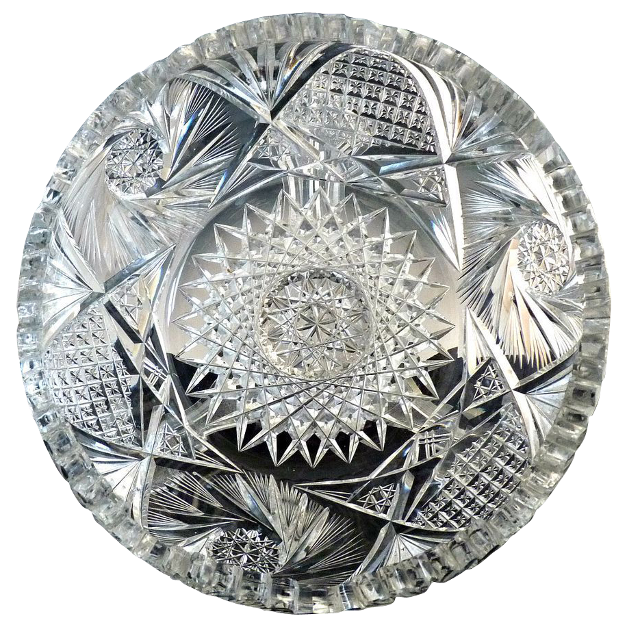 American Brilliant cut glass low bowl sunflower