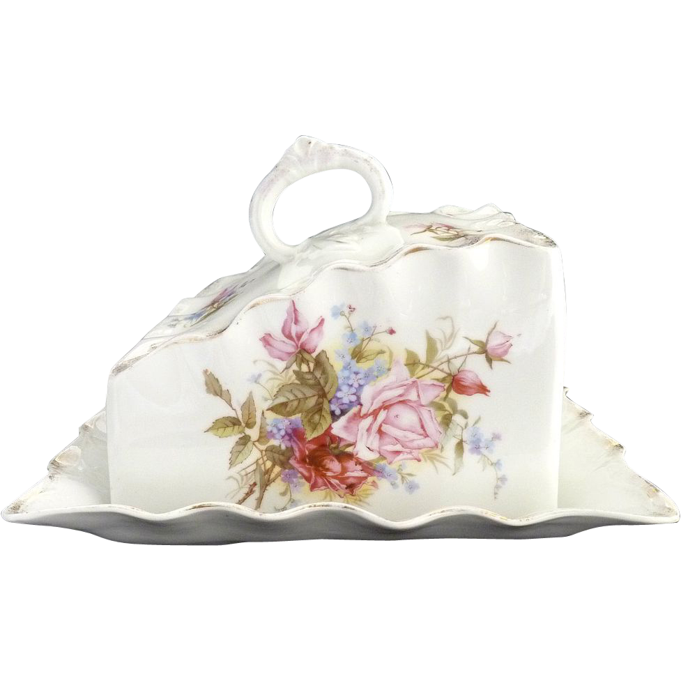 Antique German porcelain cheese dish floral transfer