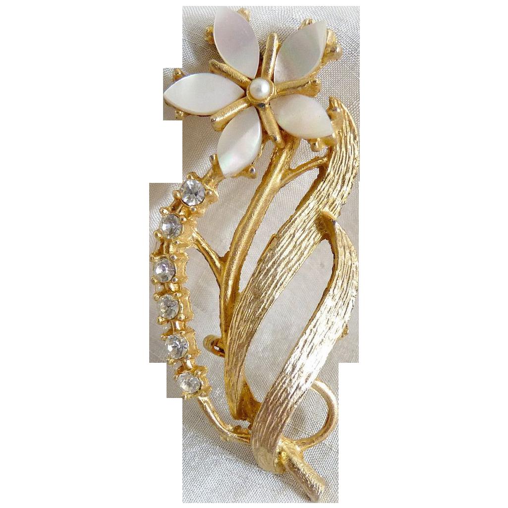 Vintage flower brooch mother of pearl rhinestones
