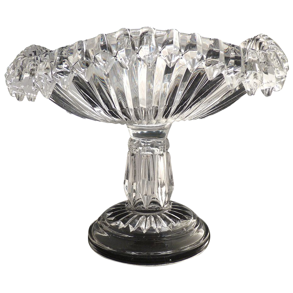 Antique glass compote square tall standard Chandelier pattern O'Hara Glass c. 1888