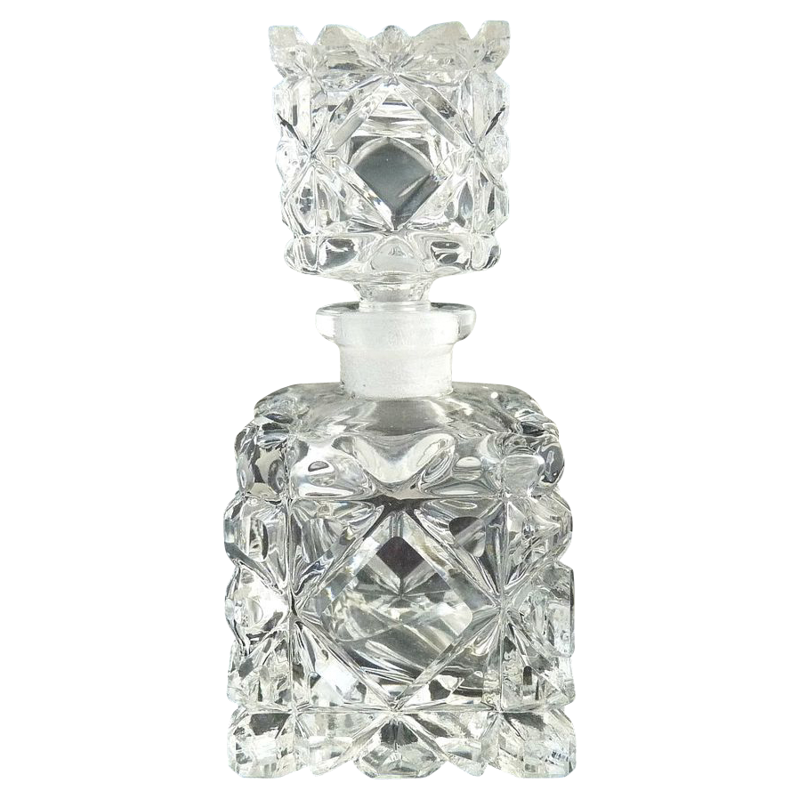 Cut glass scent perfume bottle square diamonds
