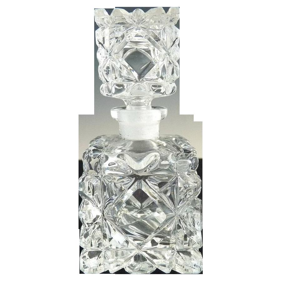 Cut glass scent perfume bottle square diamonds