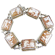 Italian Sterling carved cameo bracelet seven days of the week book piece