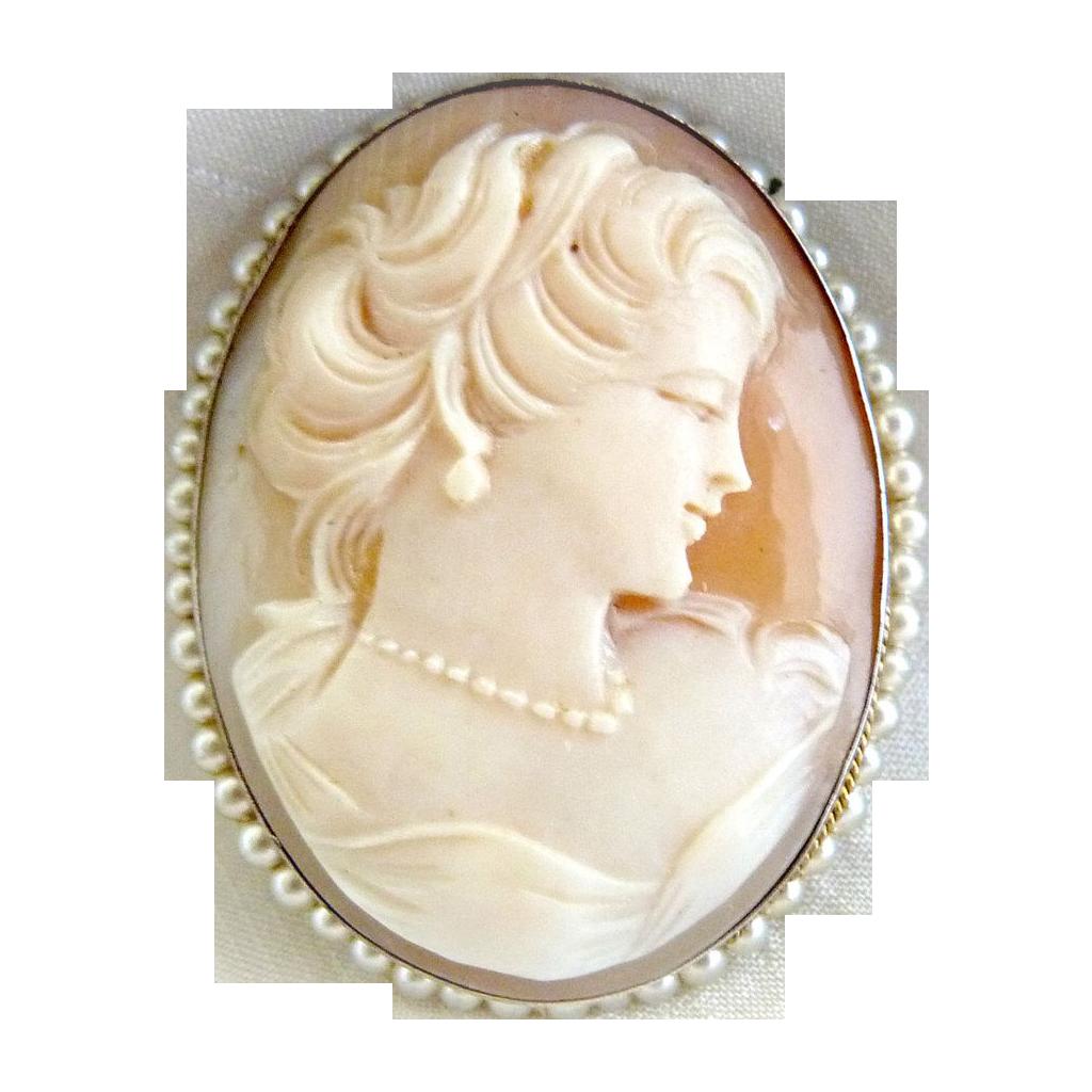 Italian Cameo Brooch Pendant Seed Pearls 800 Silver Mark