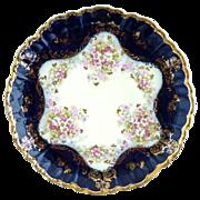 Antique Vienna porcelain cobalt plate floral gold enameling Austria