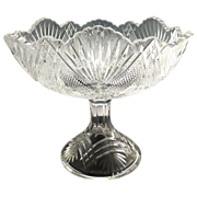 Antique glass compote Grated Diamond and Sunburst Duncan 1895