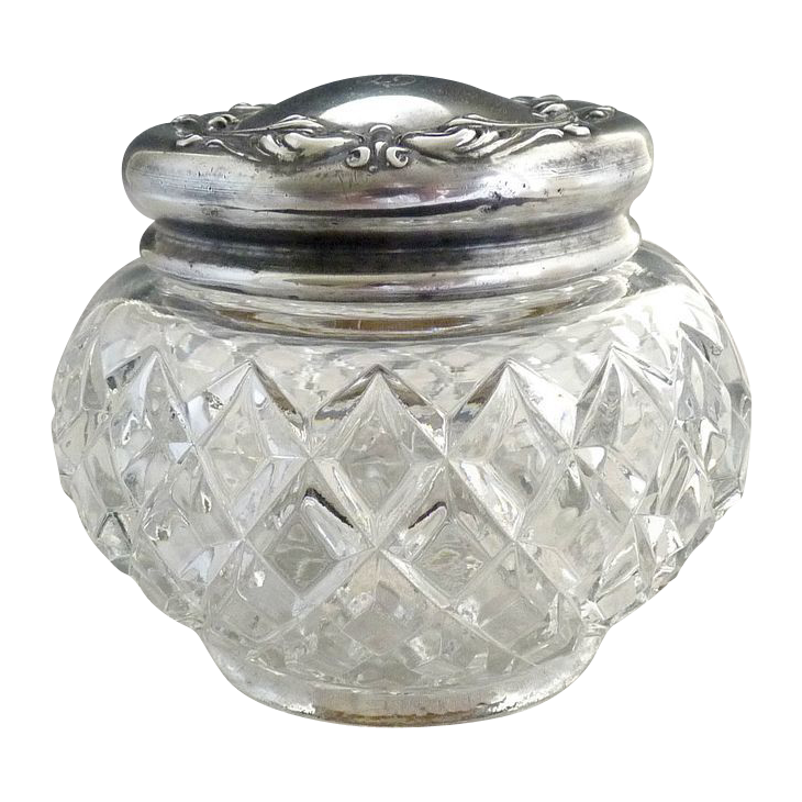 Antique glass vanity jar silver lid pat. date c. 1907