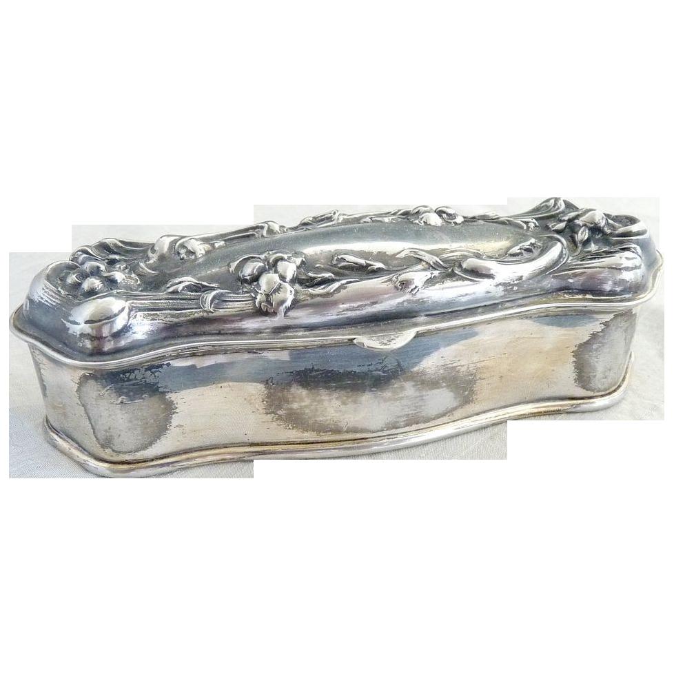 Antique hair pin box silver satin lined Art Nouveau