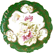 Antique Austria porcelain plate raised gold enameling florals