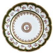 GDA Limoges porcelain dinner plate gold foiling with florals