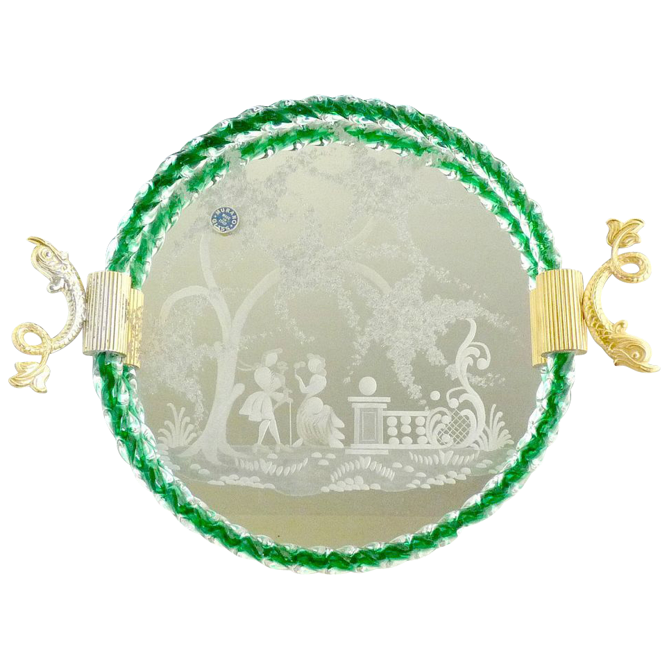 Vintage glass vanity tray etched scene  Murano Italy