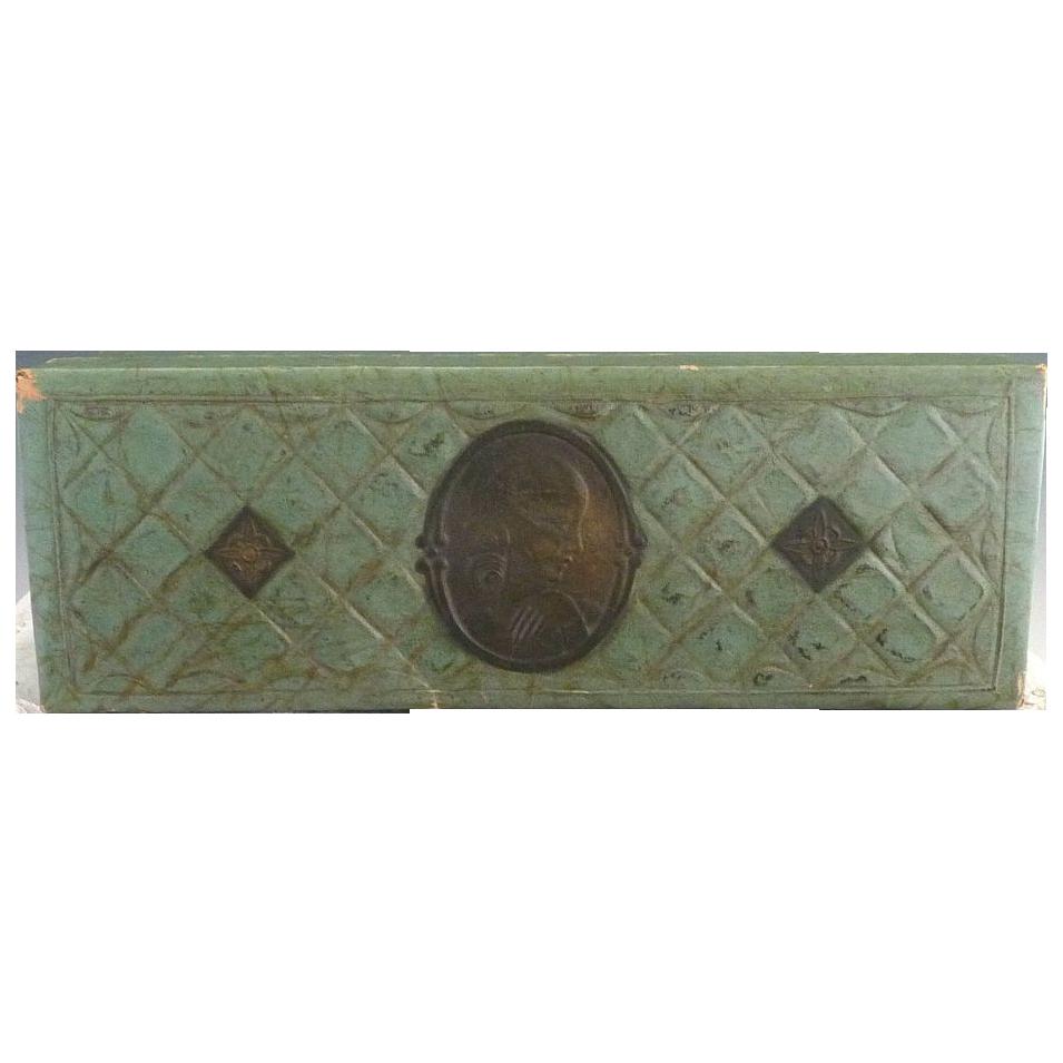 Victorian stationary box calling card box cameo c. 1890s
